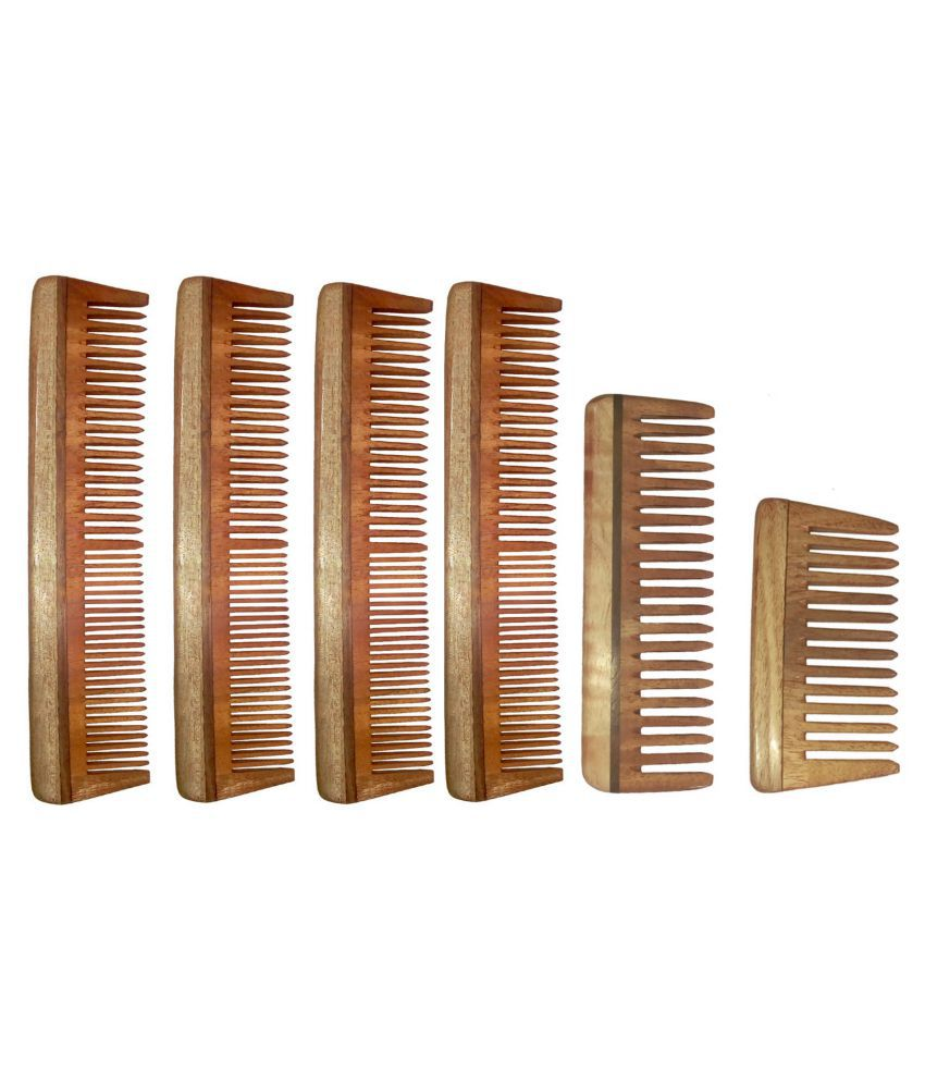 Ginni Neem Wood Comb Styler Pack of 6