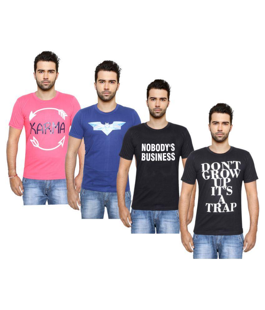 Indiweaves Multi Round T-Shirt Pack of 4