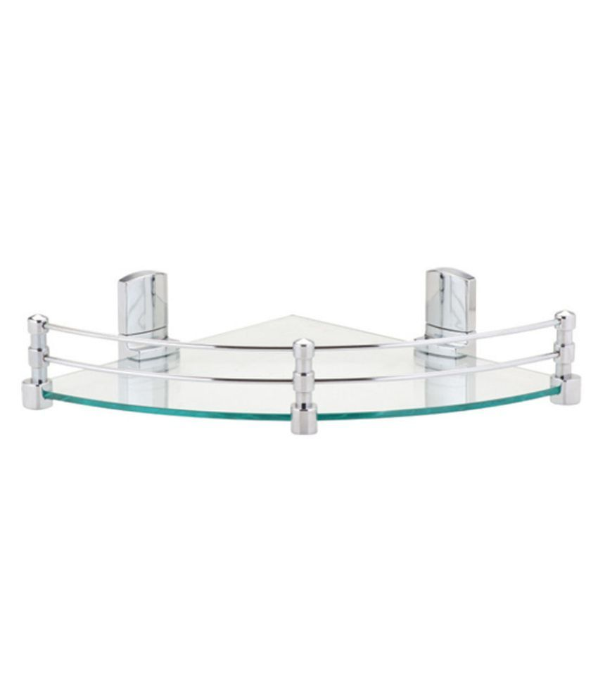 Royal Indian Craft Chrome Brackets 10 By 10 inch Glass Corner Shelf