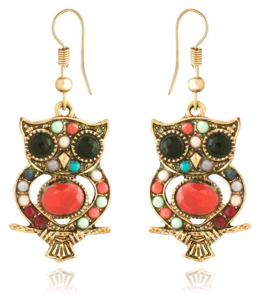 Spargz Lovely Color Beads Owl Earrings Gold Plated Hanging Earrings for Women