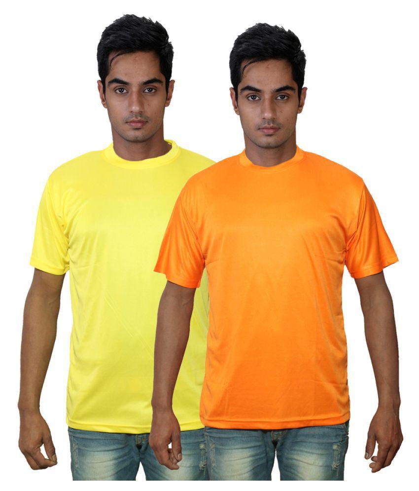 Dfnk Atlanta Yellow Cotton Polo T-shirt Pack of 2