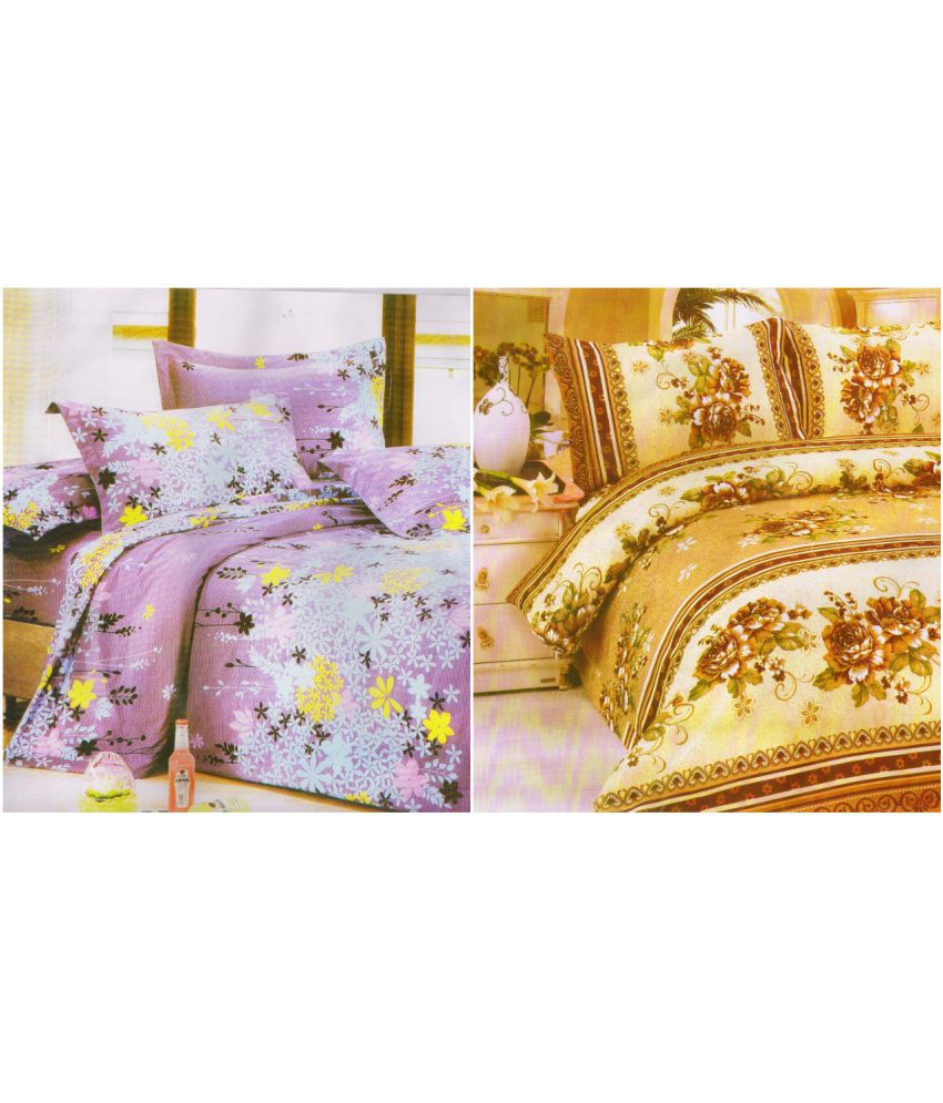 K2M2 Double Polyester Multi Floral Bed Sheet Set of 2