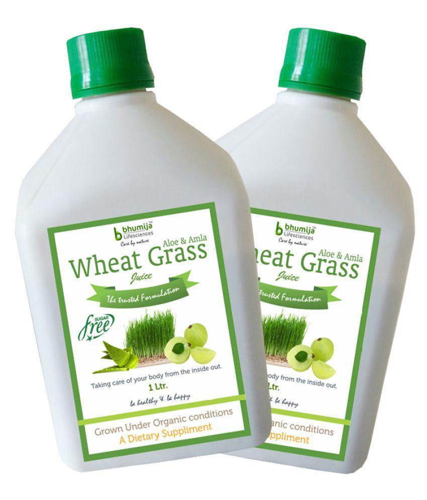 BHUMIJA LIFESCIENCES WheatGrass,Aloe & Amla  Health Drink Liquid 2 l Pack of 2