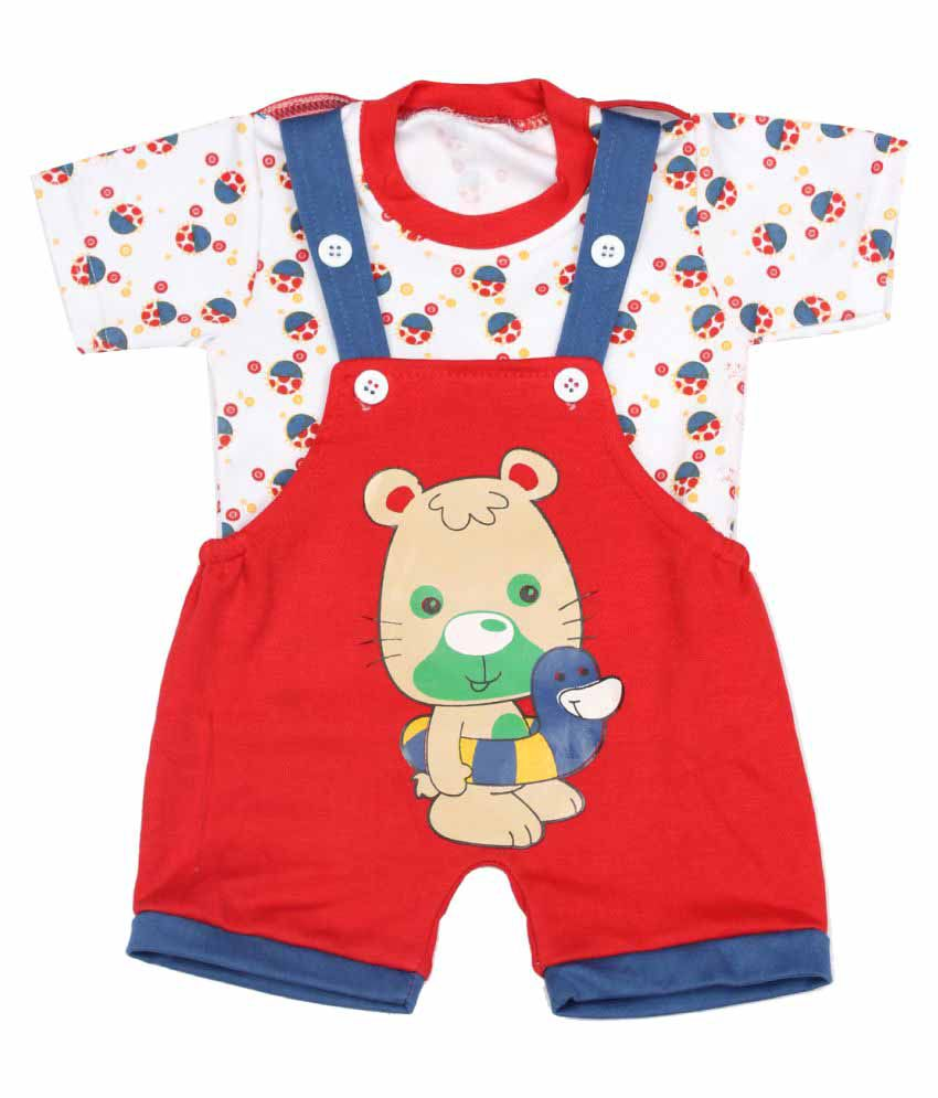 94a48abf9 Babeezworld Baby Kids Cotton Dungaree Set With Round Neck Half ...