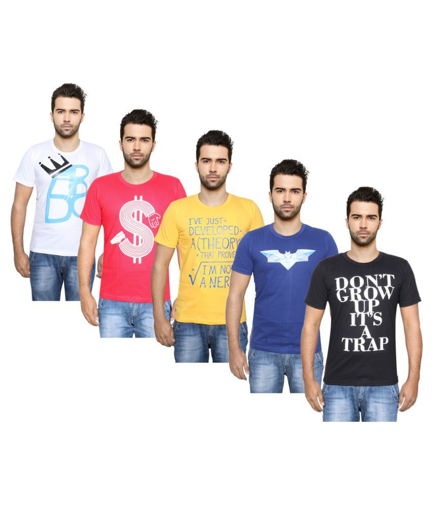 Indiweaves Multi Round T-Shirt Pack of 5