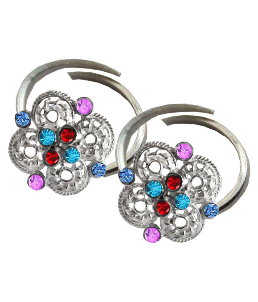 Pihu Traditional Design For Women Alloy Rhodium Plated Toe Rings