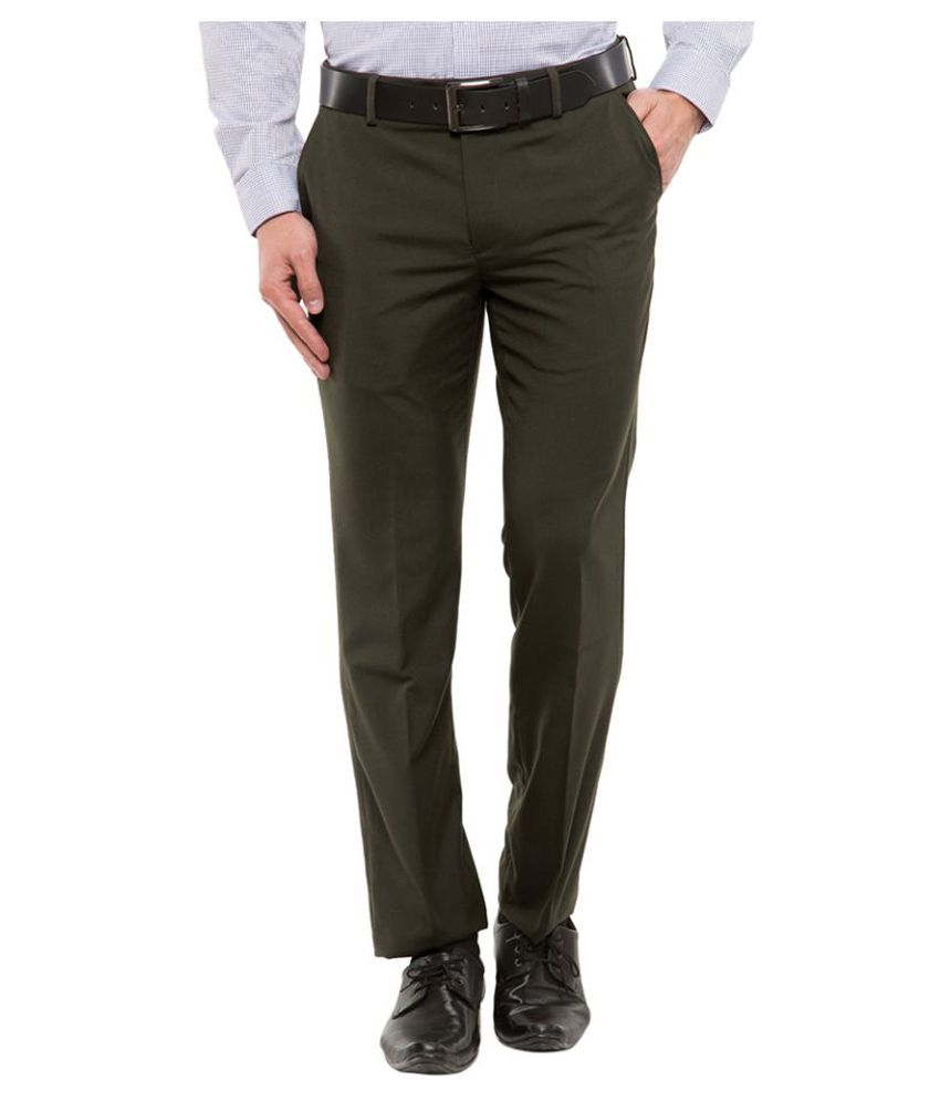 Black Coffee Green Regular Flat Trousers