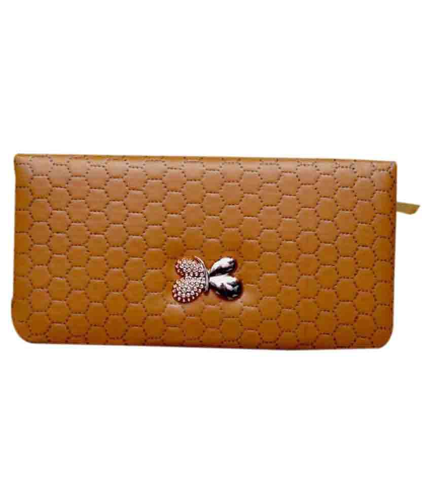 Dame Beige Faux Leather Box Clutch