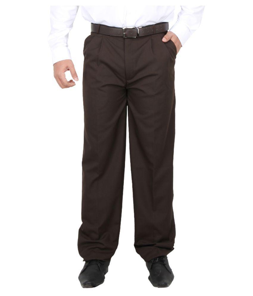 Maharaja Brown Regular Pleated Trousers