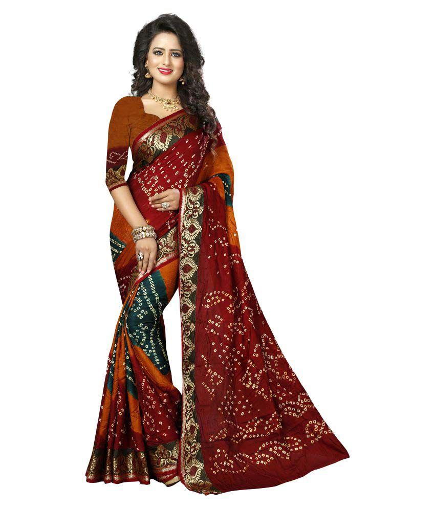 Shree Sondarya Bandhani Multicoloured Art Silk Saree