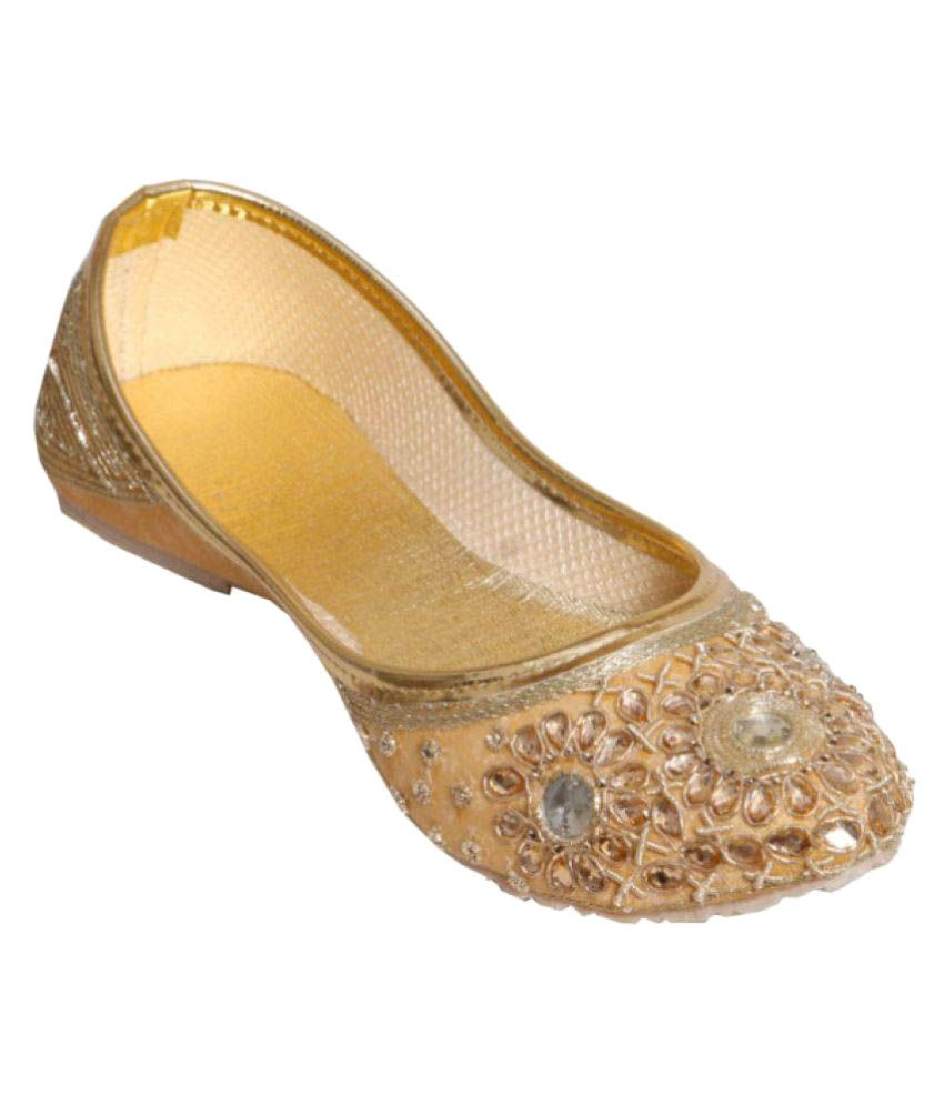 Step Zone Gold Flat Ethnic Footwear
