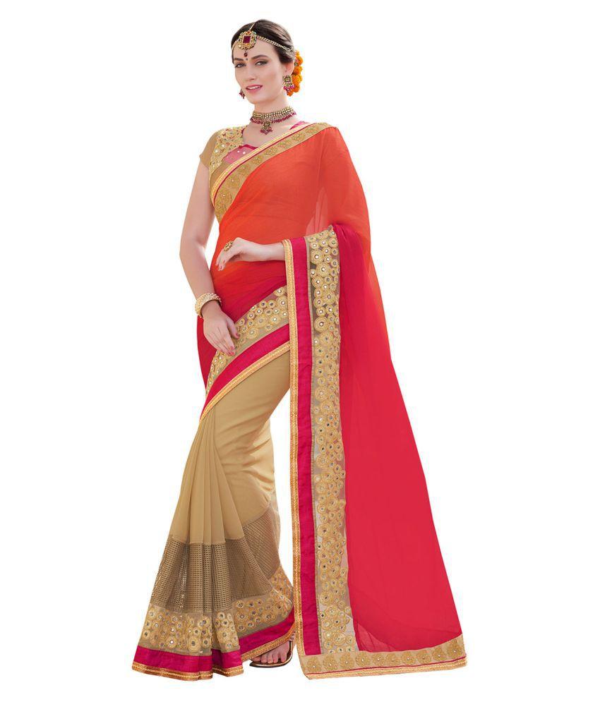 Melluha Multicoloured chiffon Saree