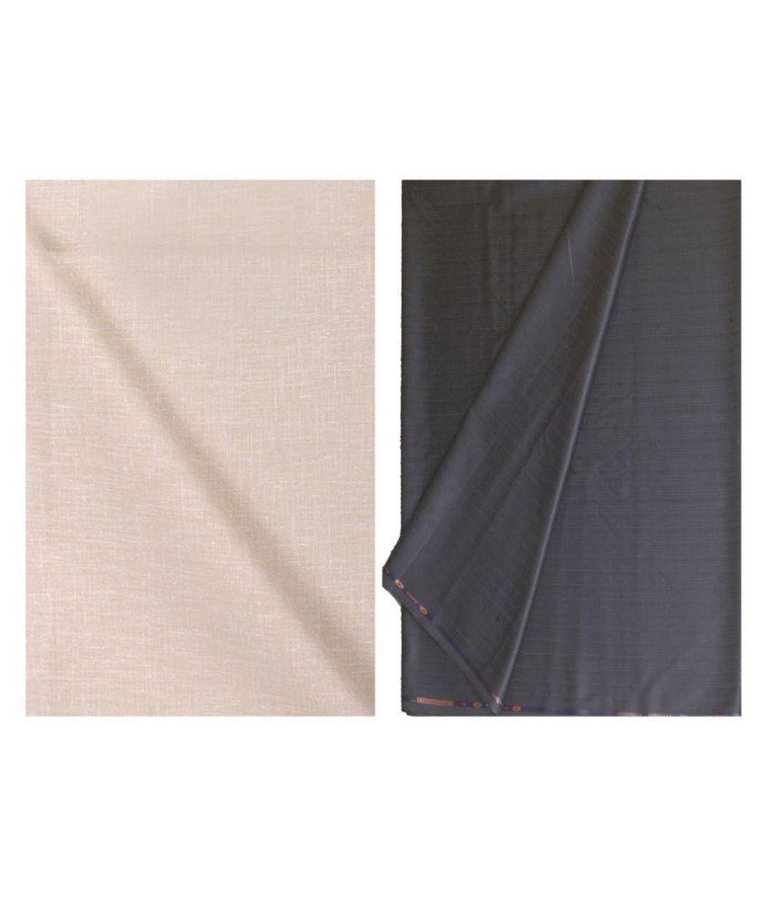 Kundan Sulz Gwalior Multi Linen Unstitched Shirts & Trousers