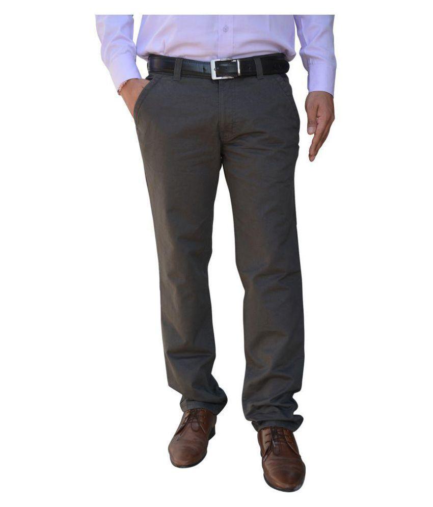 Color Castle Olive Green Regular Flat Trousers