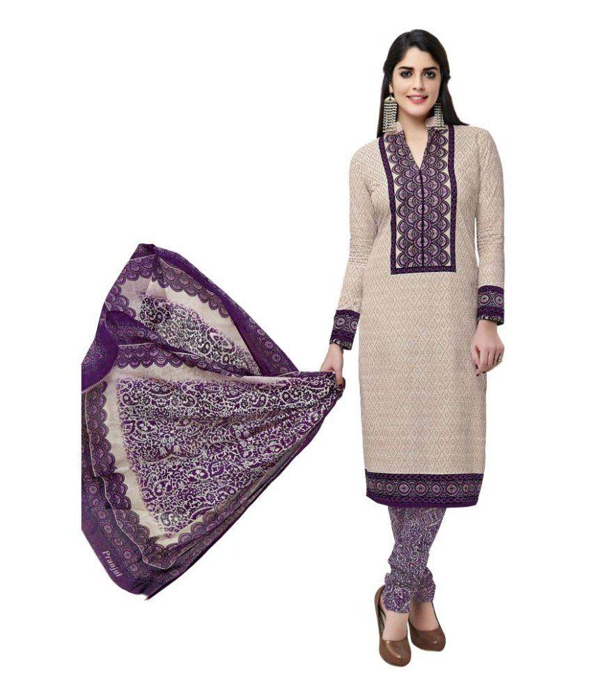 Pranjul Beige Cotton Dress Material