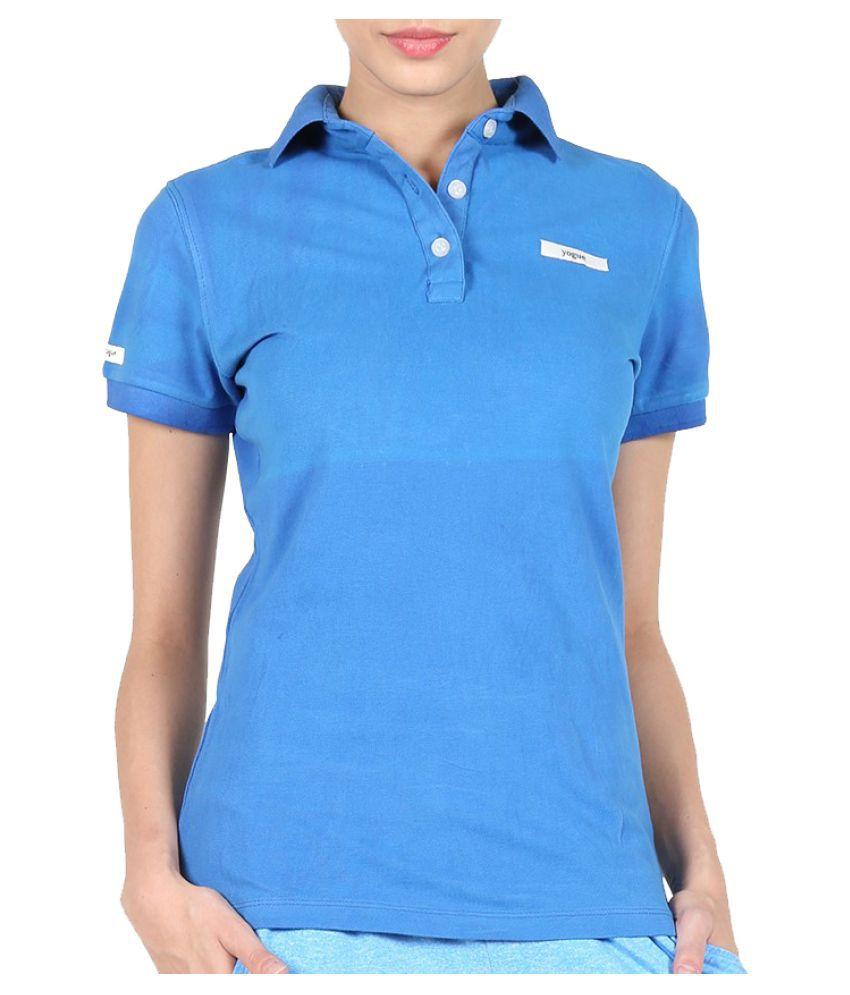 Yogue Blue Cotton Polo T-Shirt