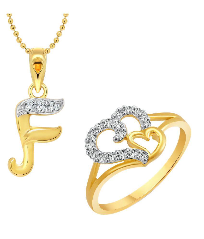 Vighnaharta Couple Heart Ring With Pendant Combo
