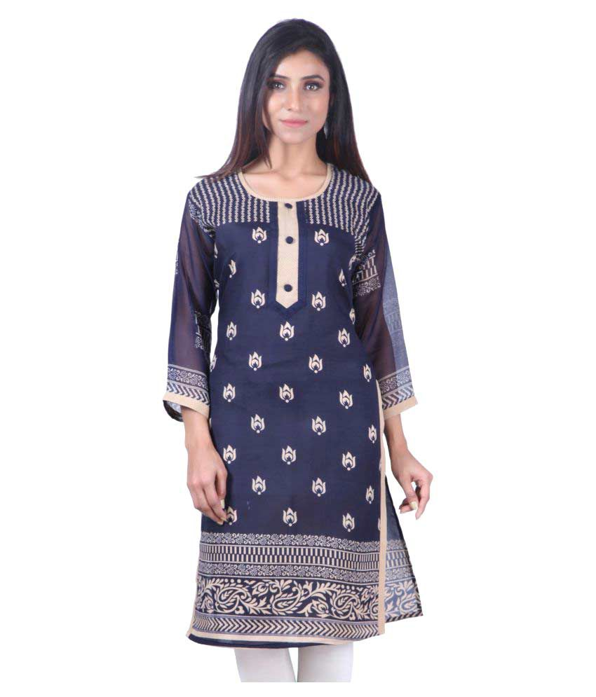 Merry Fashion Blue Cotton Straight Kurti