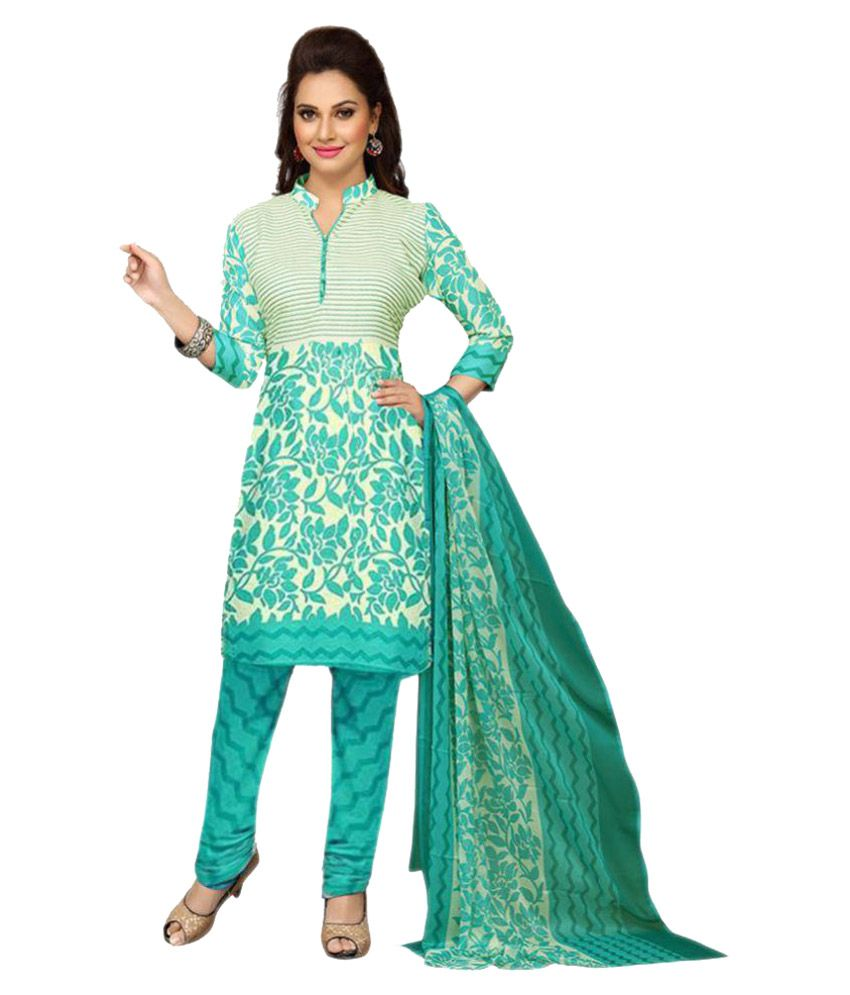 Shree Ganesh Turquoise Crepe Dress Material