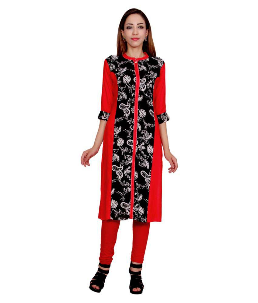 Mokshi Red Rayon Straight Kurti
