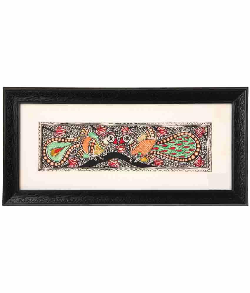 iMithila Madhubani Handmade Paper Painting With Frame Single Piece