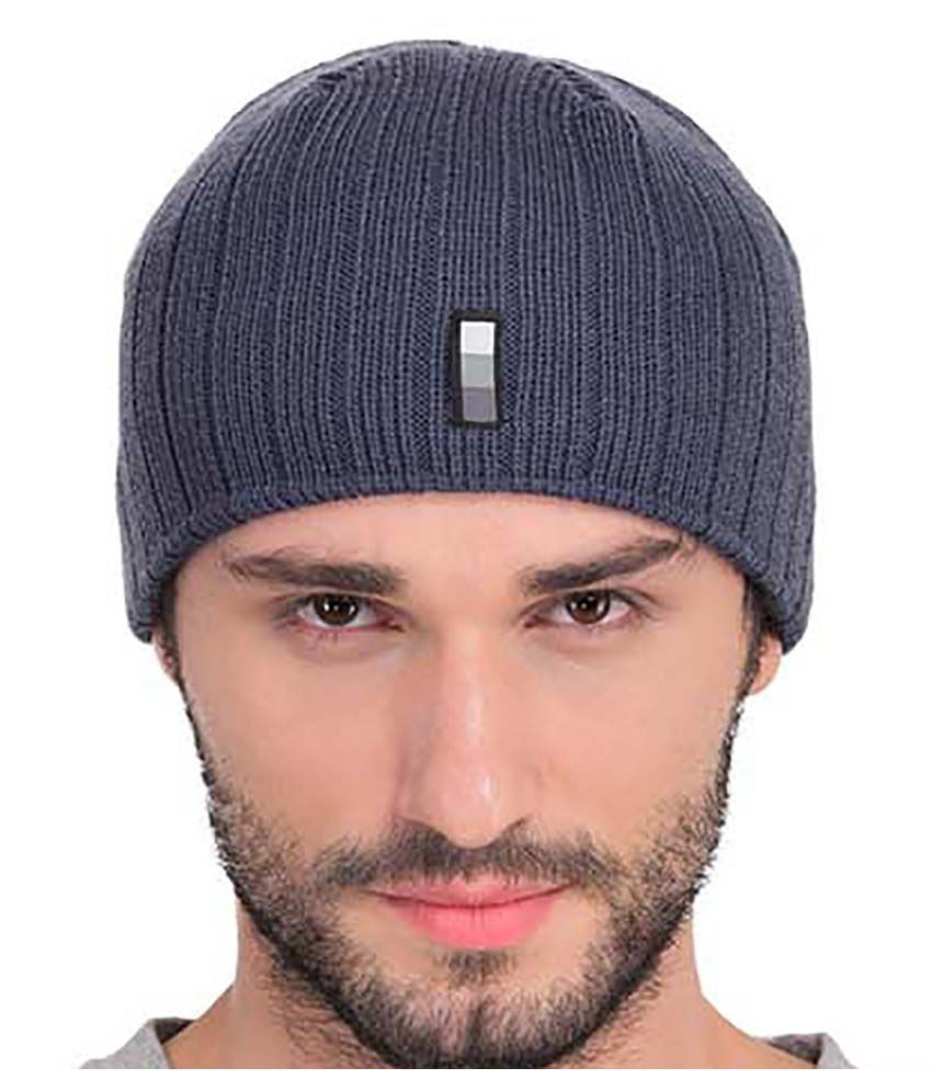 TAB91 Gray Knitted Wool Caps