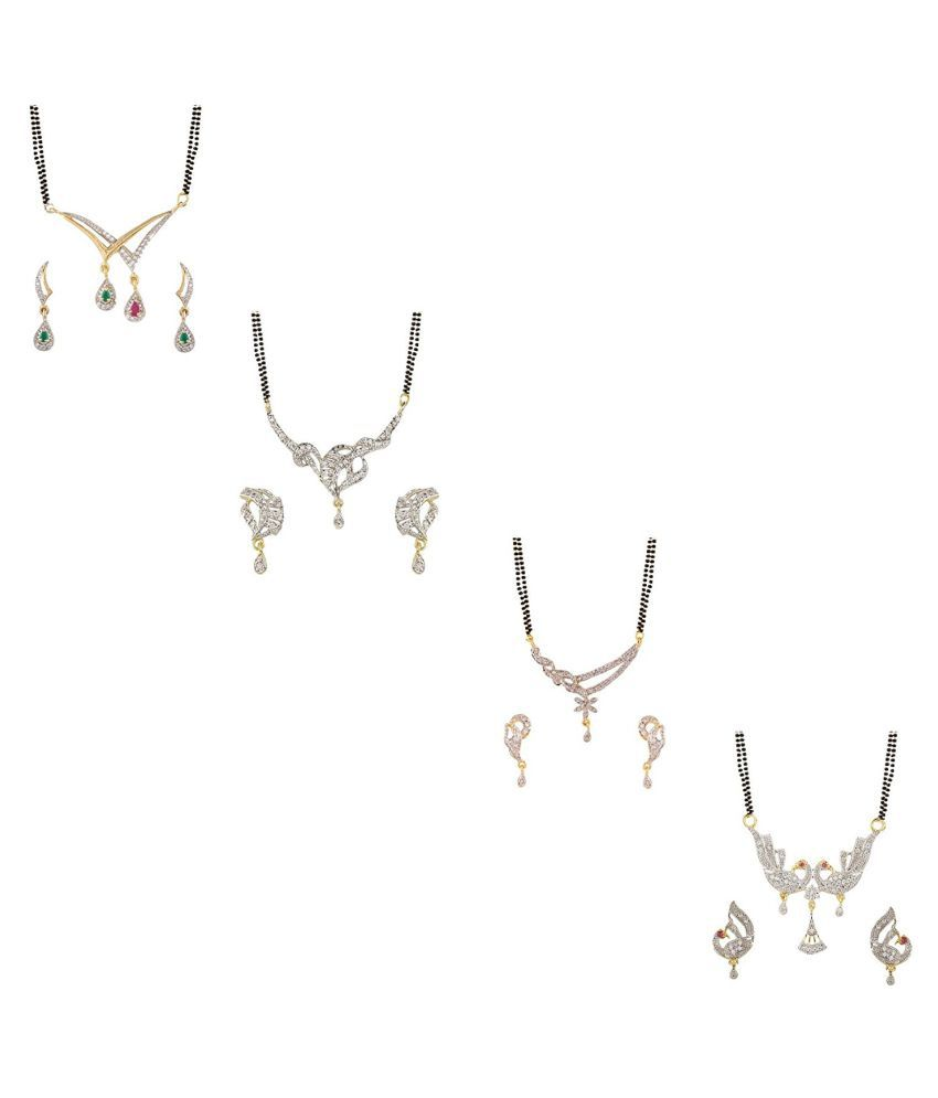 YouBella Combo of 4 Gold Plated American Diamond Mangalsutra Pendant with Chain and Earrings