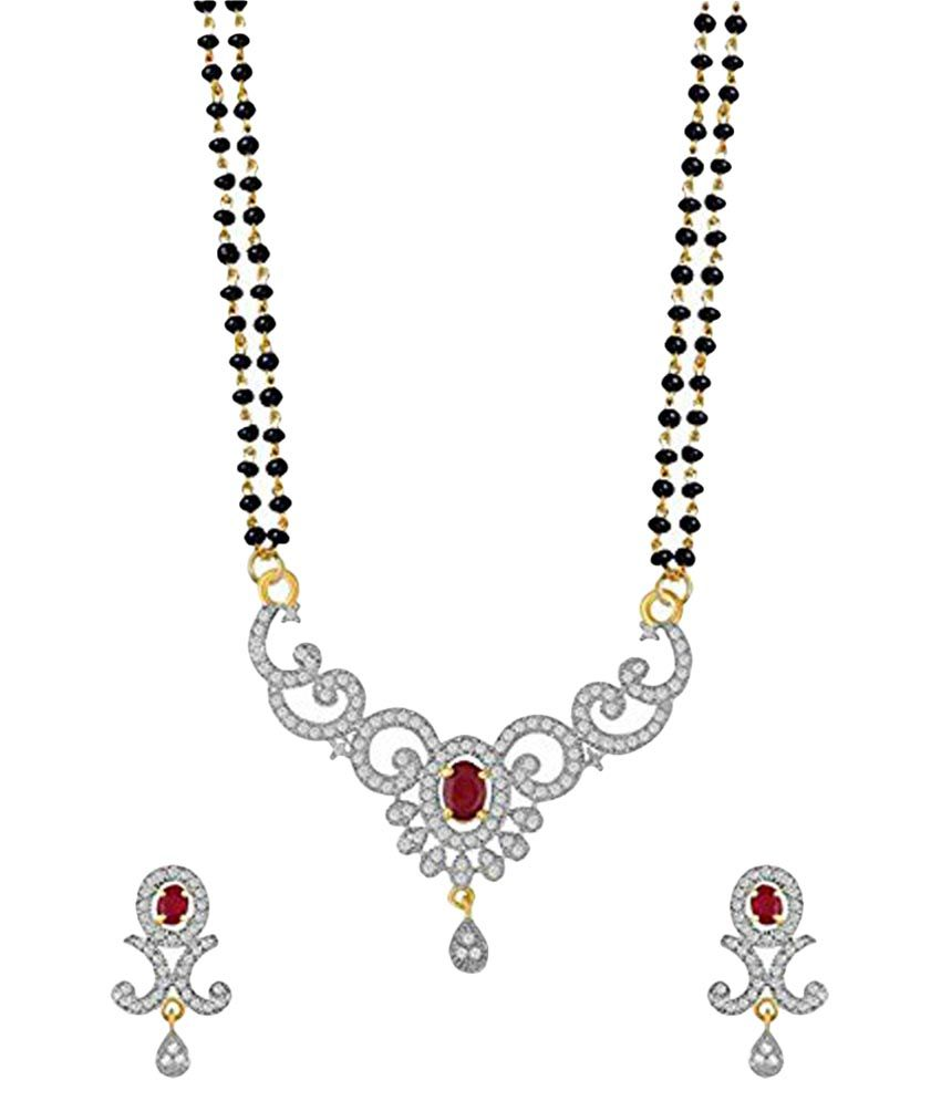 Youbella American Diamond Gold Plated Mangalsutra Pendant With Chain And Earrings