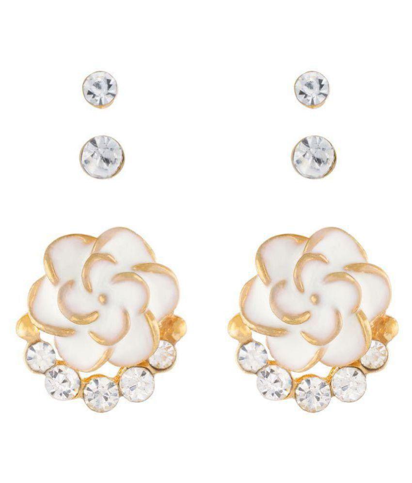 OSF White Alloy Stud Earrings Set