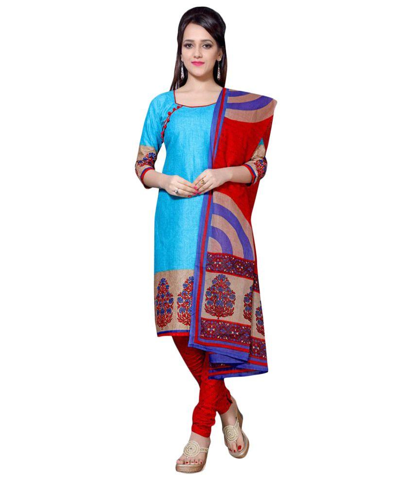 Saree Mall Blue Cotton Dress Material