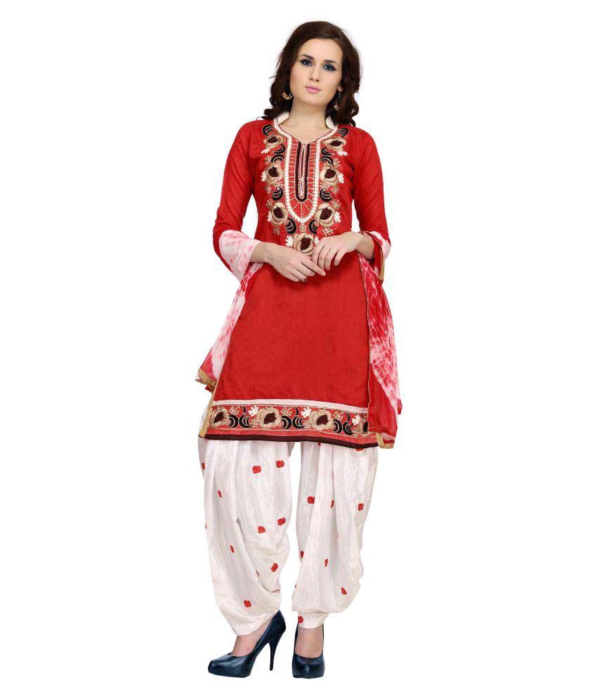 Tulsi Trendz Red Chanderi Dress Material