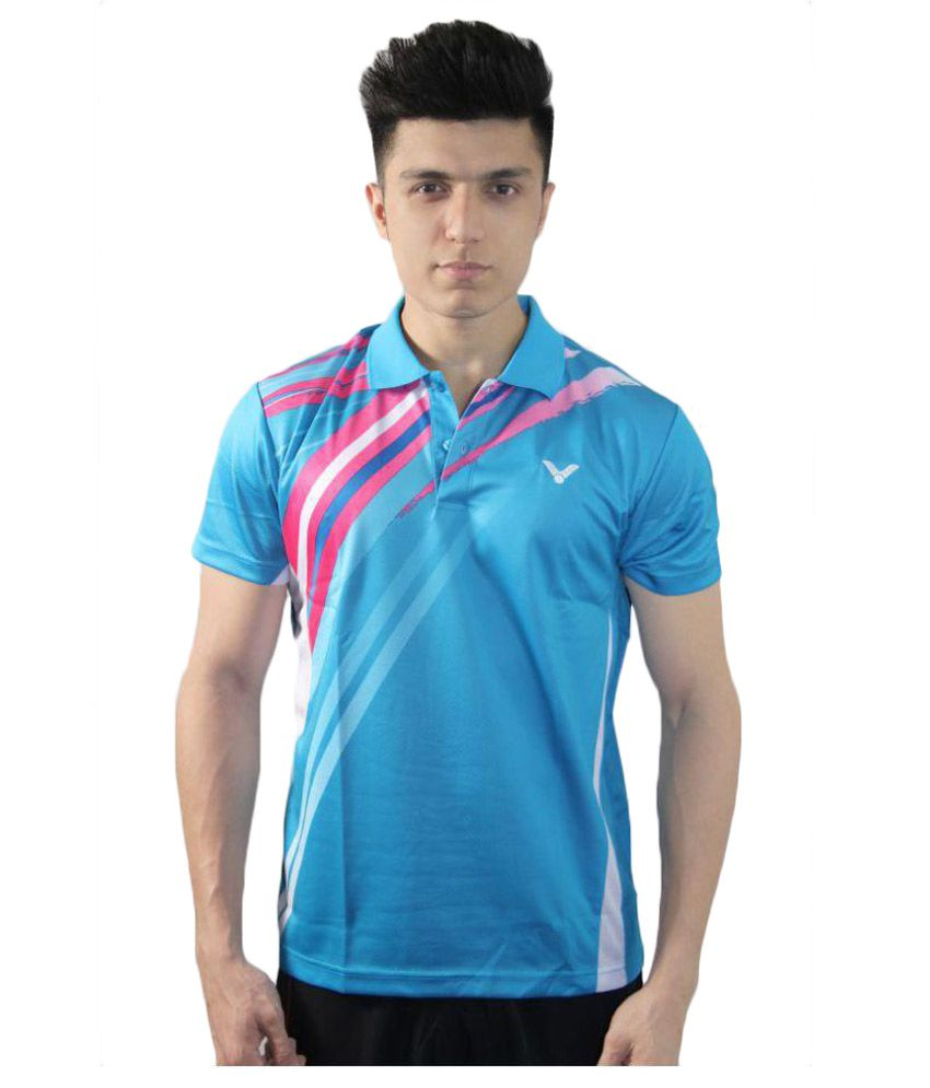 Victor Blue Polyester Polo T-Shirt Single Pack