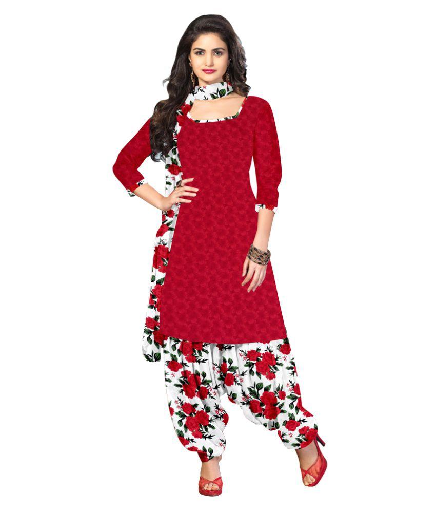 Jiya Red Crepe Dress Material
