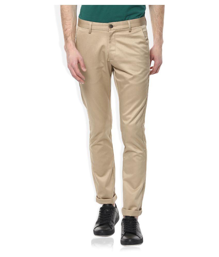 Scullers Khaki Slim Flat Trousers