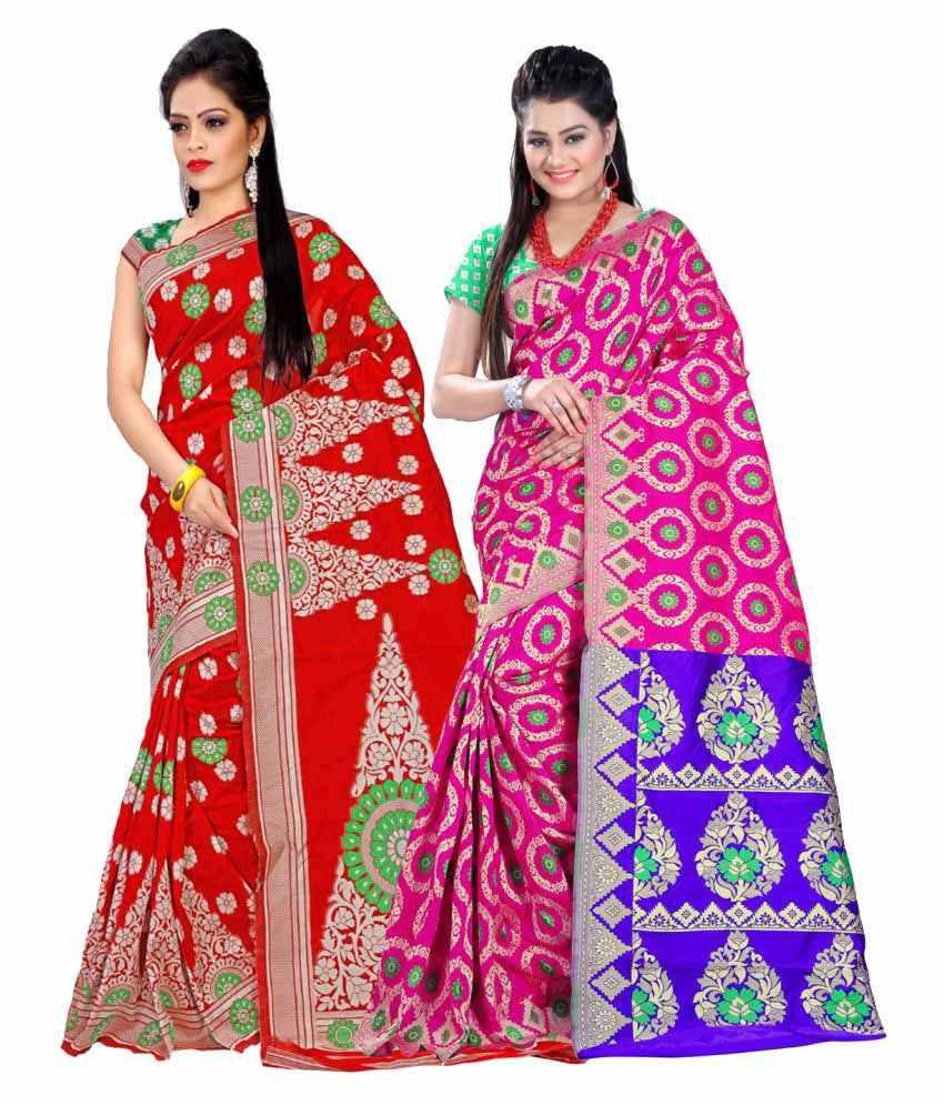 Ganga Shree Multicoloured Banarasi Silk Saree Combos