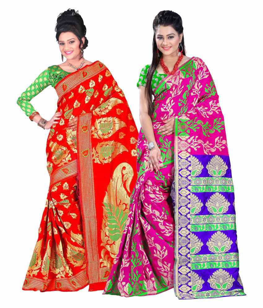 Ganga Shree Multicoloured Banarasi Silk Saree Combos