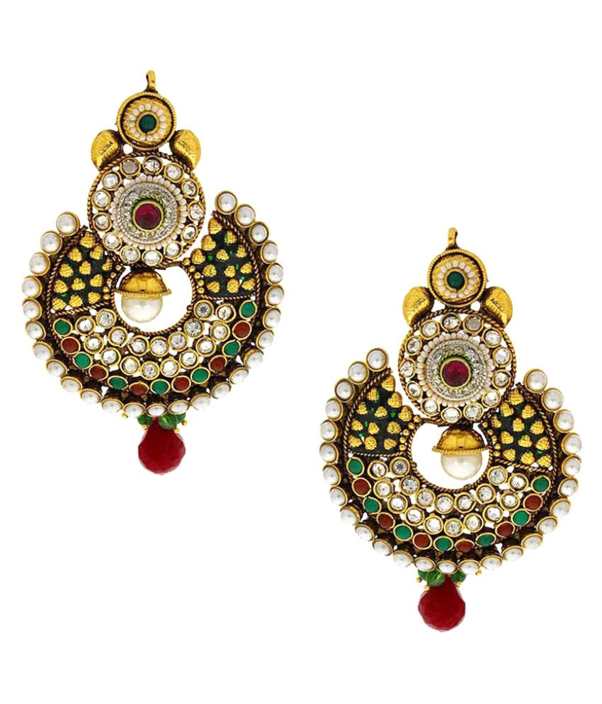 Anuradha Art Multicolour Alloy Chandeliers Earrings