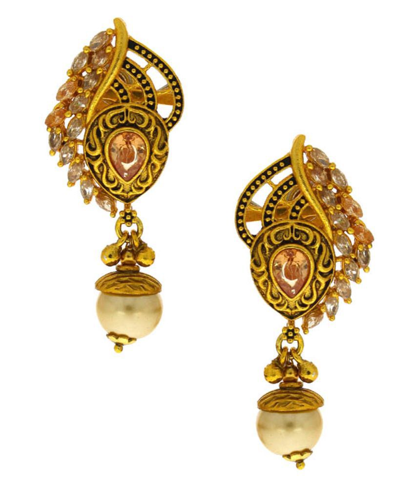 Anuradha Art Golden Alloy Drop Earrings
