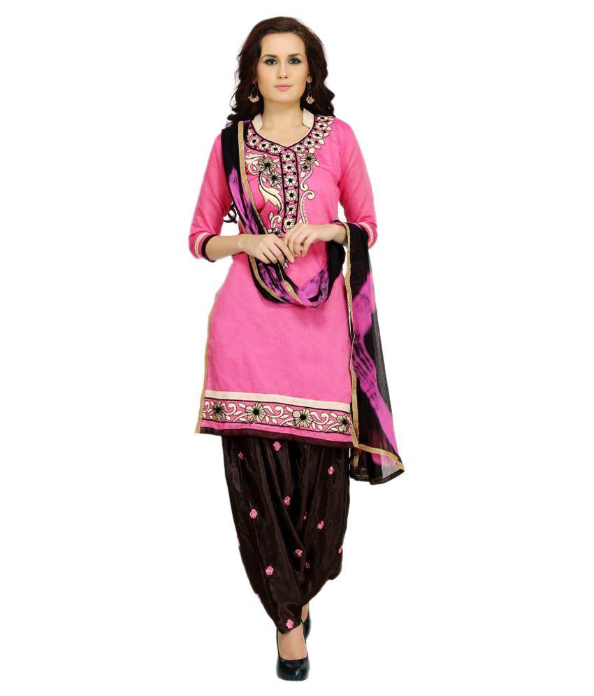 Tulsi Trendz Pink Chanderi Dress Material