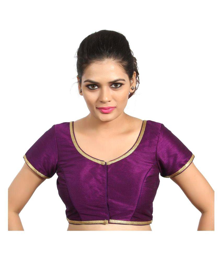 Atulya Designer Blouse Purple Sweetheart Shape Back Blouse