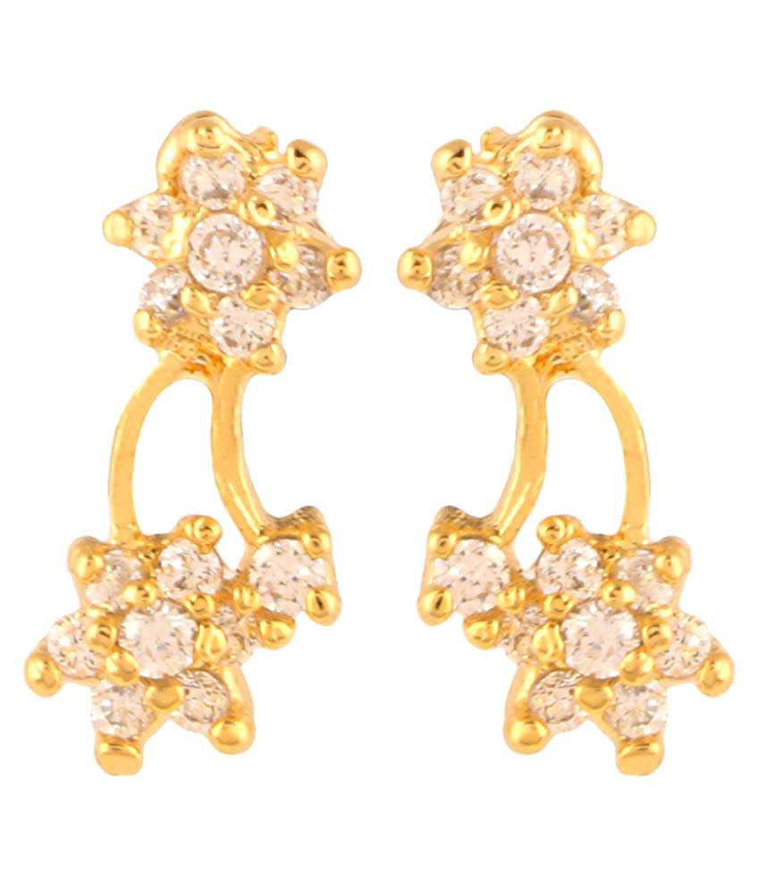 Archi Collection Golden Alloy CZ Stud Earring