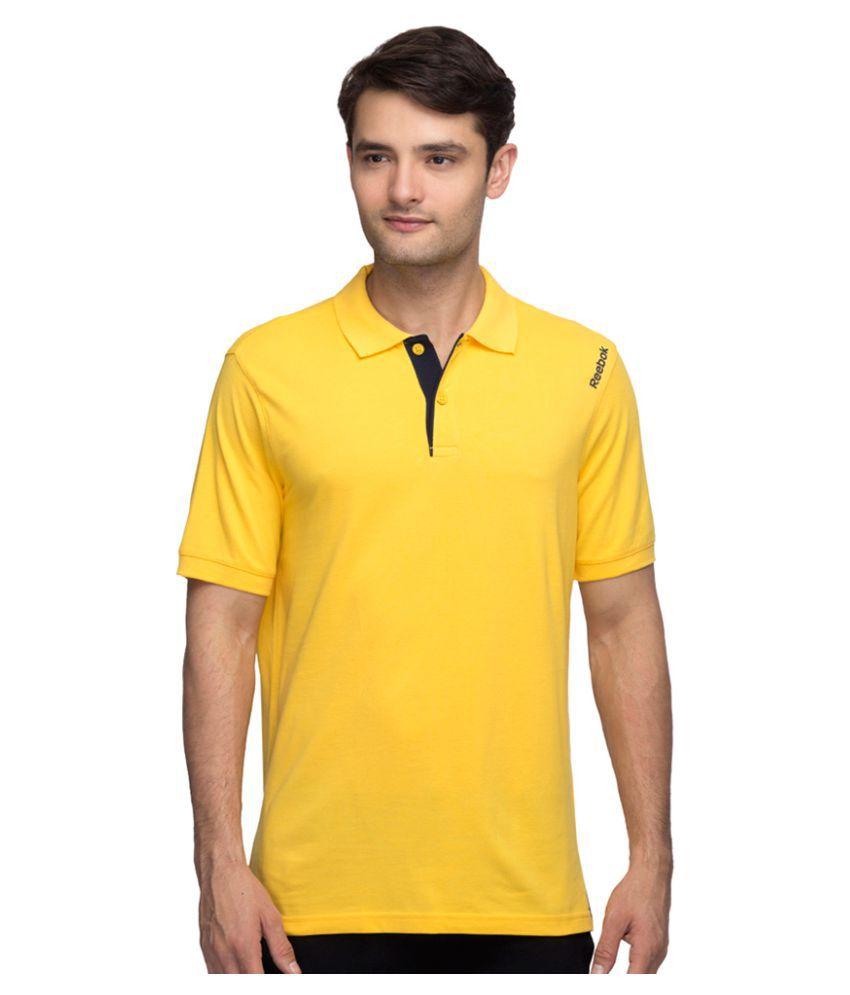 Reebok Yellow Cotton Polo T-shirt