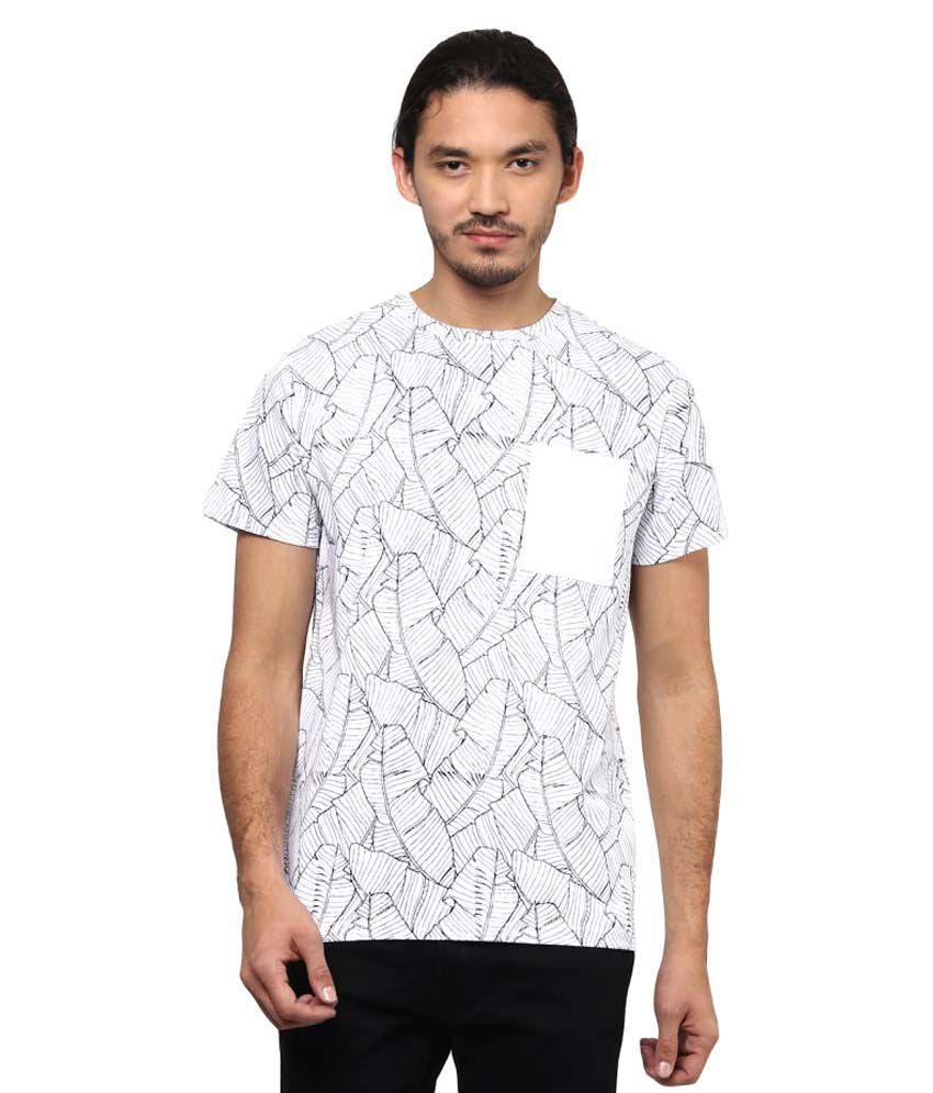 Atorse White Round T-Shirt