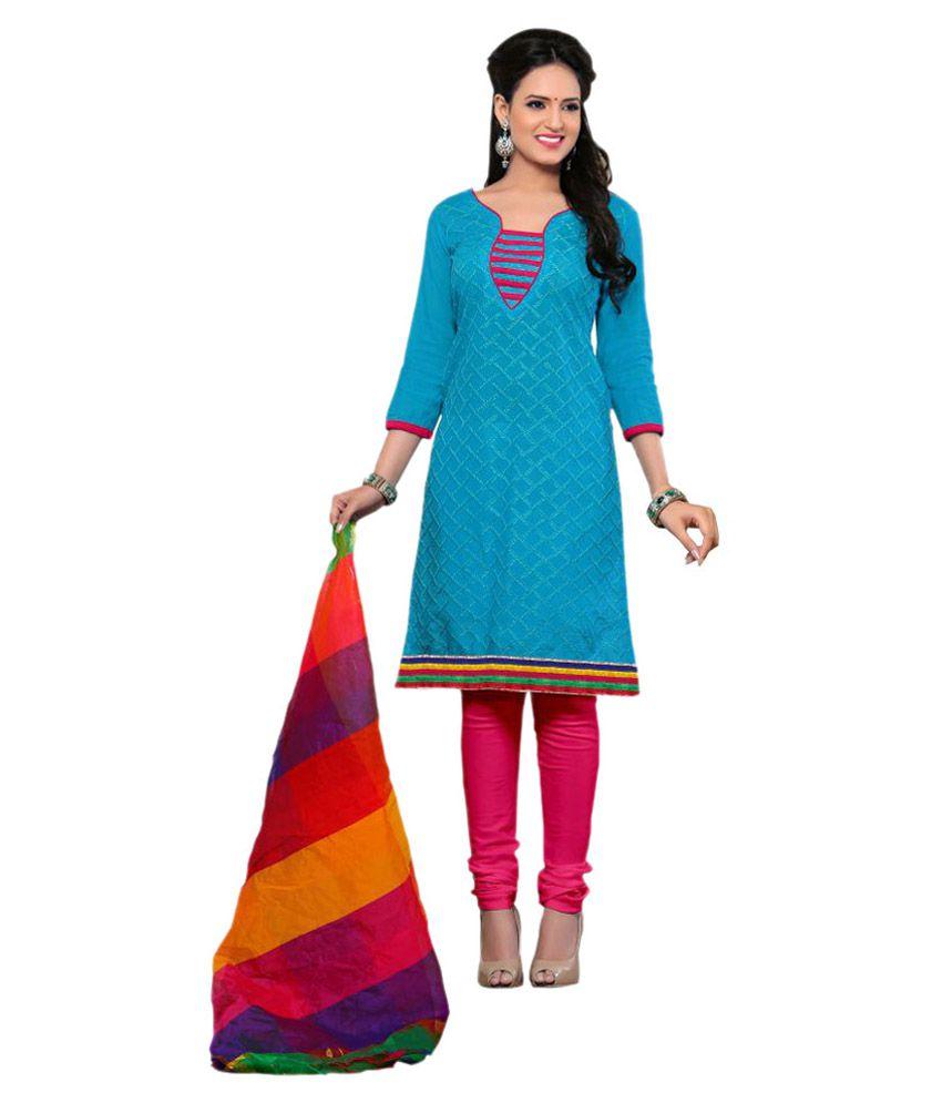 Kalish Turquoise Chanderi Dress Material