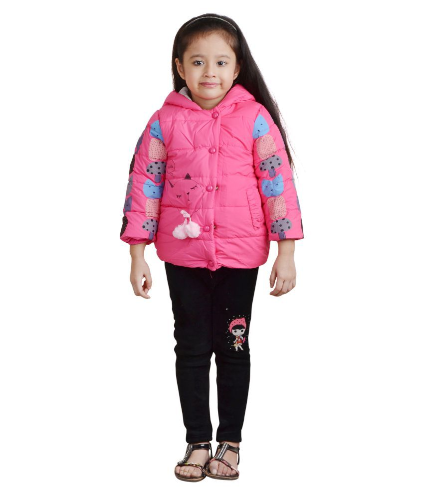 Qeboo Deep Pink Nylon Light Weight Jacket for Girls