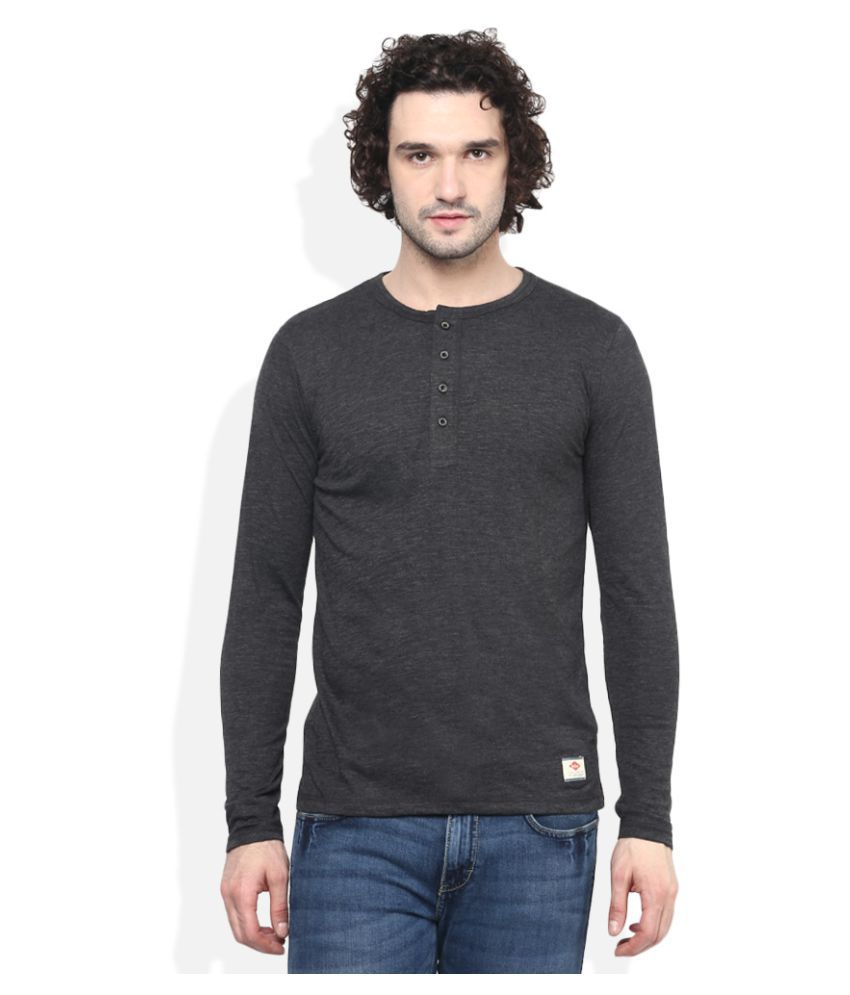 Lee Cooper Grey Henley T-Shirt