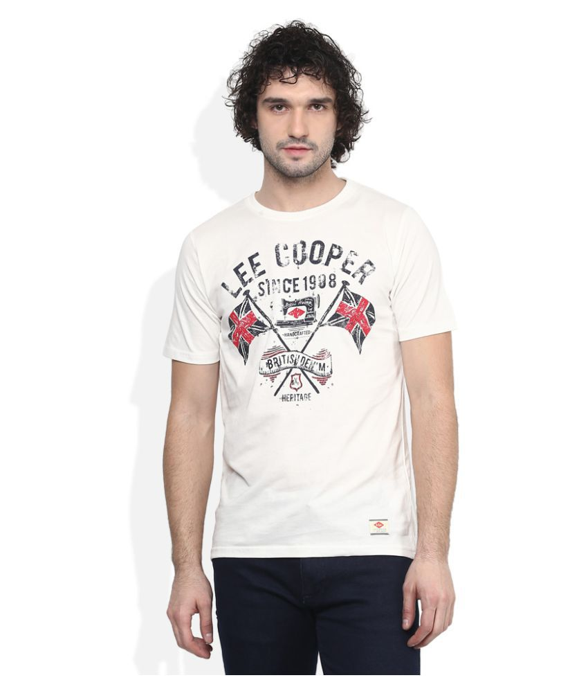 Lee Cooper Off-White Round T-Shirt