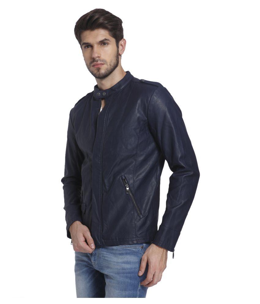 Leather jacket jack and jones -  Jack Jones Navy Leather Jacket