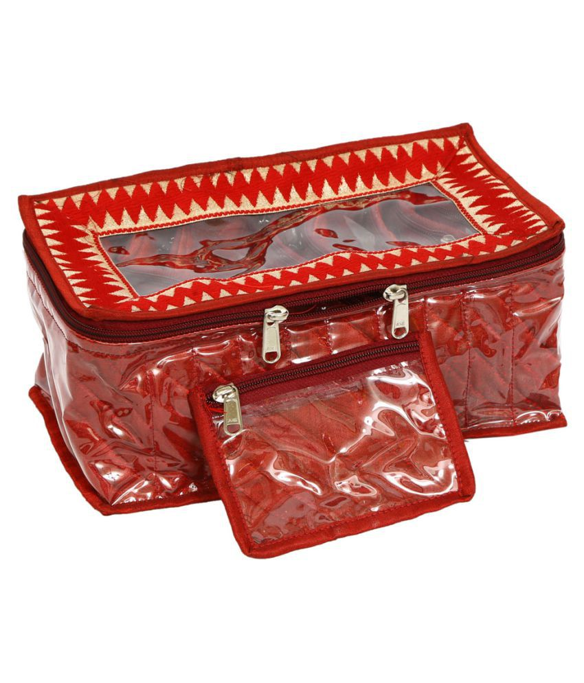 Kuber Industries Jewellery Box With 10 Transparent Pouches (Maroon)