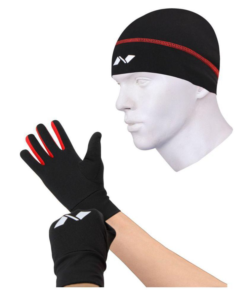 Nivia Black Polyester Safety Gloves and Cap Combo